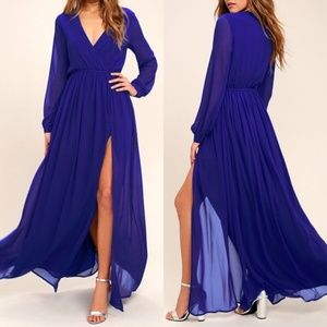 Lulu's Women Maxi Dress Long Sleeve Split Front